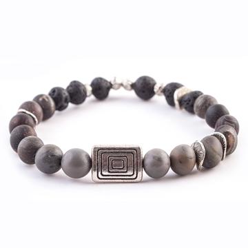 دستبند سنگ عقیق و لاوا
