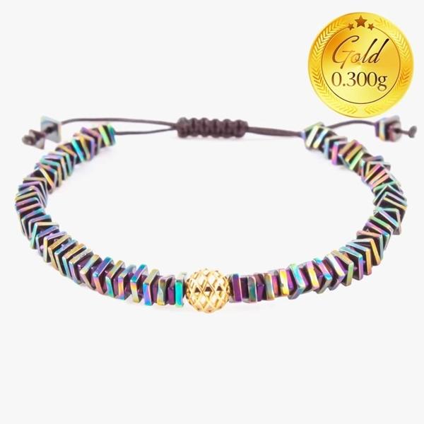 دستبند حدید رنگین کمانی | دارای 0.300 گرم طلا