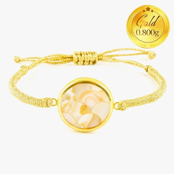 دستبند صدف طلایی با طرح پولکی | دارای 0.800 گرم طلا